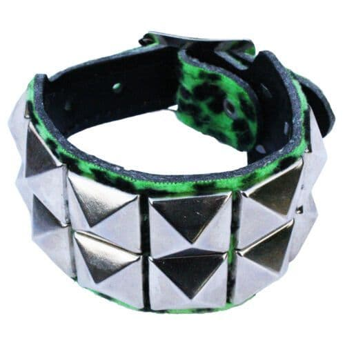 2row Pyramid Leopard Wristband - Punk Rockabilly Rock